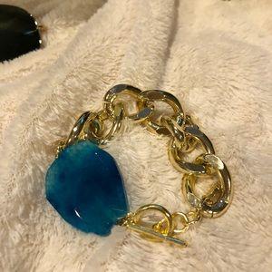 *BRAND NEW* Blue Agate Stone Gold link Bracelet